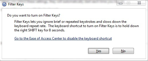 How to Disable Sticky / Filter Keys in Windows 7 and Windows