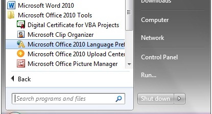 Office Language Preferences