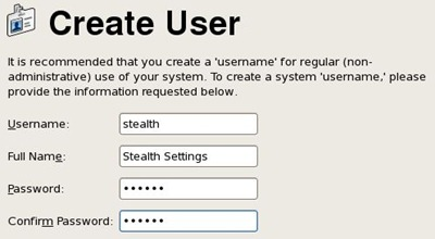 Criar CentOS usuário