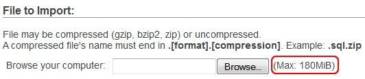 Change Upload Limit phpMyAdmin