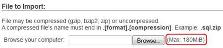 Fazer upload de limitar as alterações phpMyAdmin