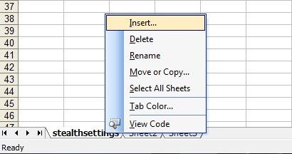 Insert New Sheet