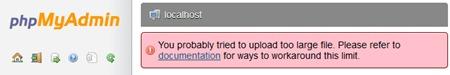 phpMyAdmin SQL Database Feltöltés Big