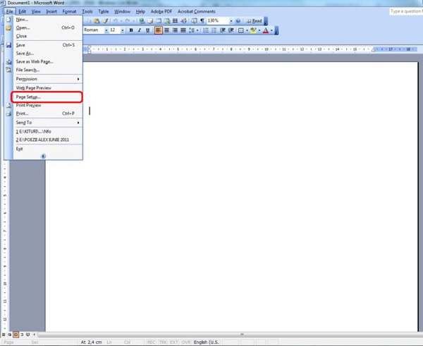 Edit Template Word010 For This Access File Page Setup Where We Set The Document Margins Of