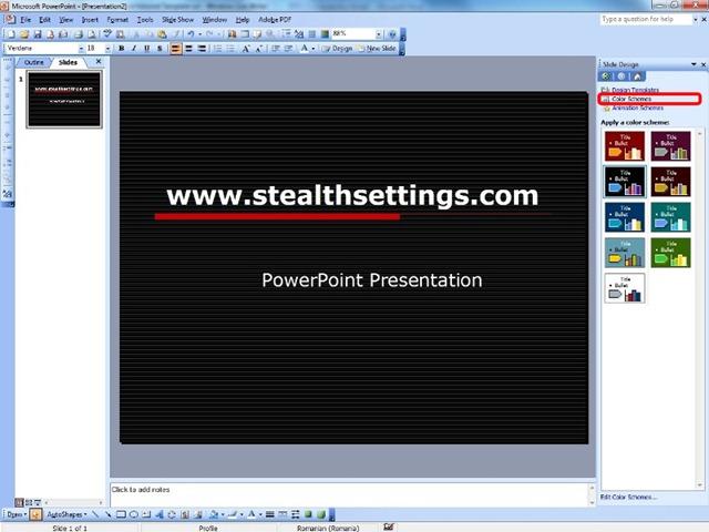 Barvne sheme v PowerPointu