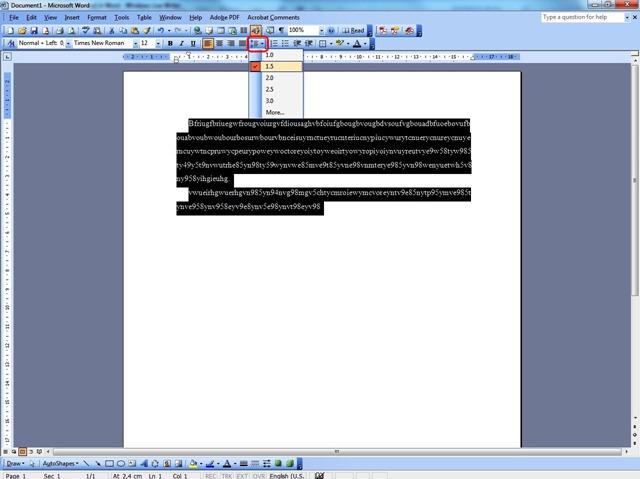 Espaciado de línea en Word