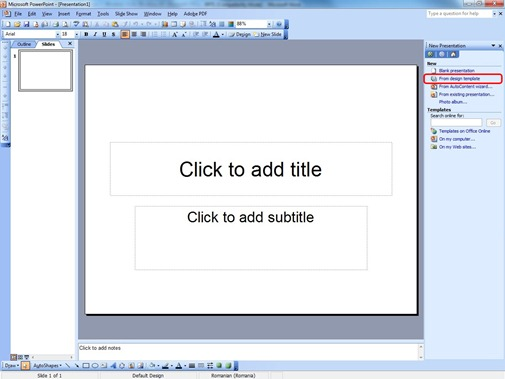 New Presentation from Template