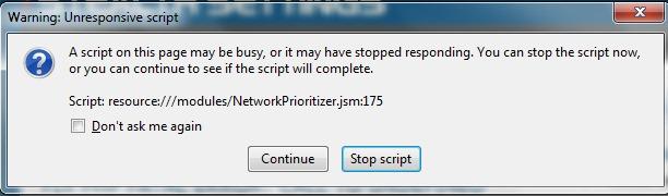 Opozorilo Firefox Script