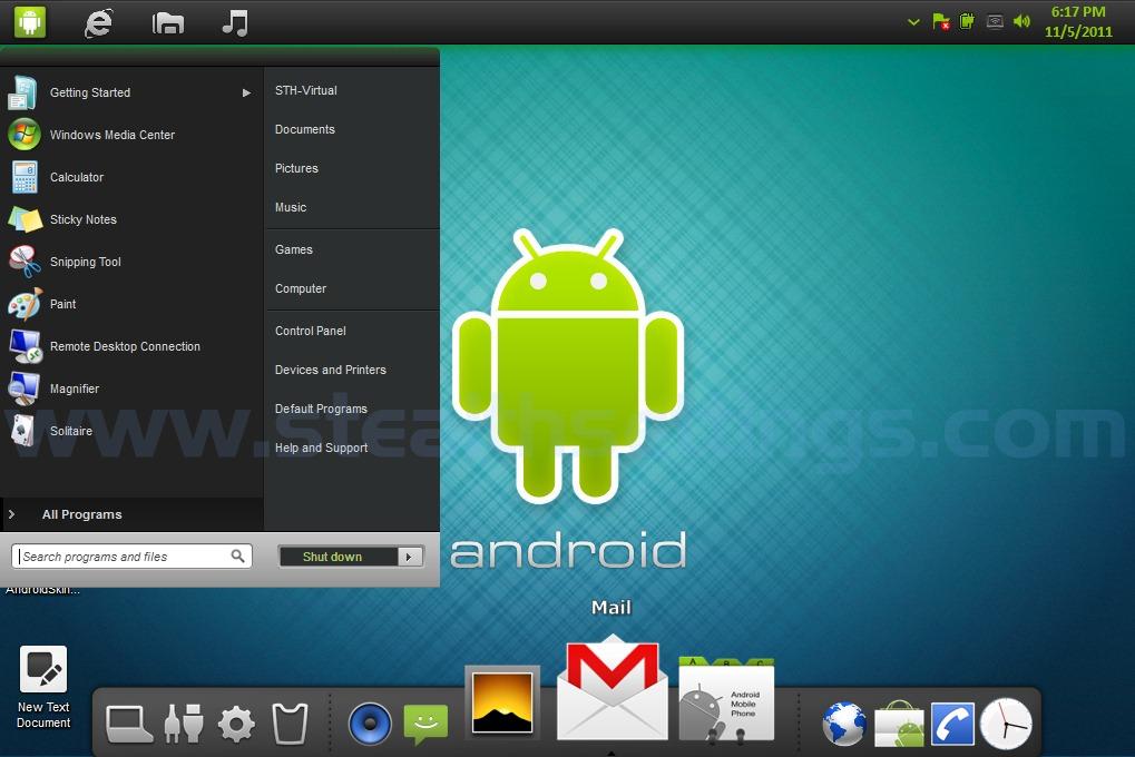 Transforma o windows 7 em android android temas skins for Temas anime para android