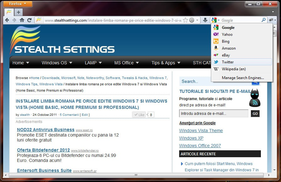 Mozilla Firefox 8 0: Download / Update - STEALTH SETTINGS