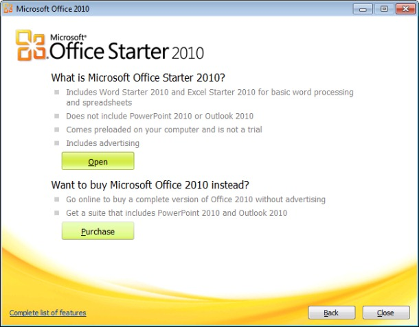descargue microsoft office 2010 starter gratis configuración de