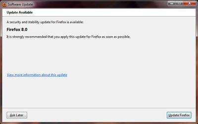 Mise à jour Firefox 8.0