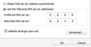 使用備用DNS