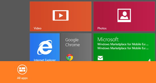 Alla Apps startsida Windows 8