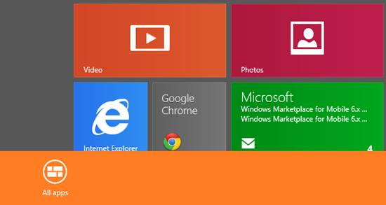 Vse Apps začetna stran Windows 8