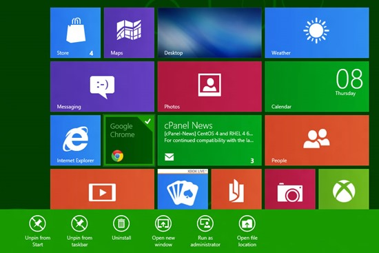 Windows 8 Hantera Apps startsida