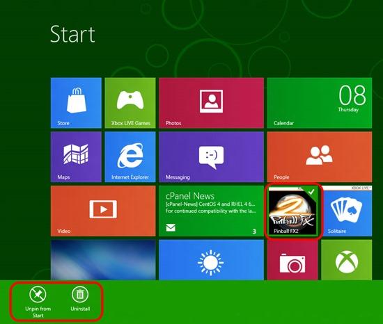 Windows 8i avalehe haldus