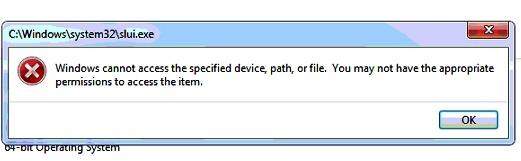 Windows 7 Activation Error - Windows can not access SLUI EXE