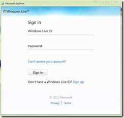 SkyDrive, login