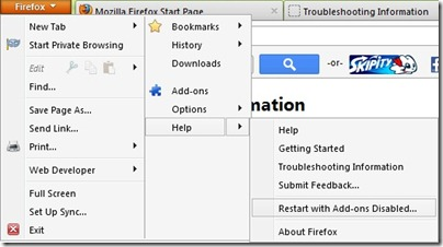 taaskäivitage Firefox-ilma-lisad