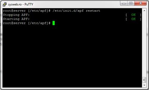Restart APF Linux Firewall