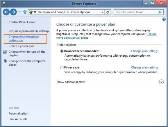 전원 옵션-windows-8