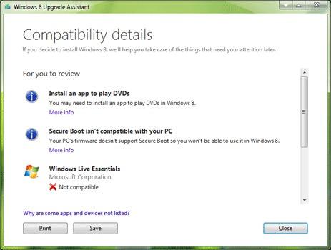 Aktualisierung der Kompatibilitätsprüfung