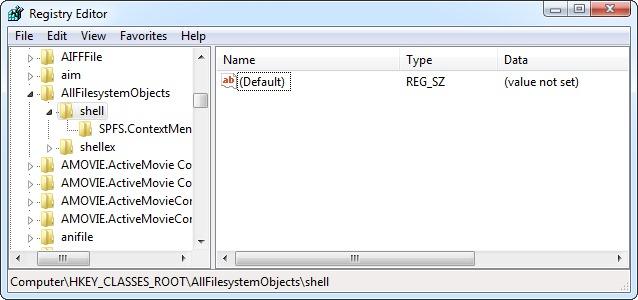 allefilesystemobjekter-shell nøgle-i registreringsdatabasen