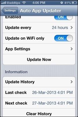 Auto-Updater-iOS App-instellingen