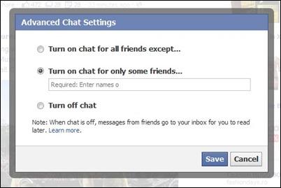 avanzadas de configuración de chat