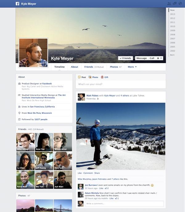 Yeni zaman çizelgesi facebook