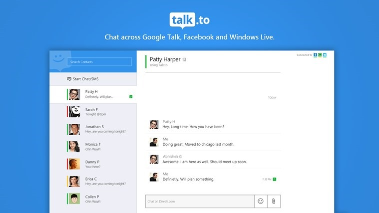 Facebook Chat and Google Talk with Talk to for Windows 8