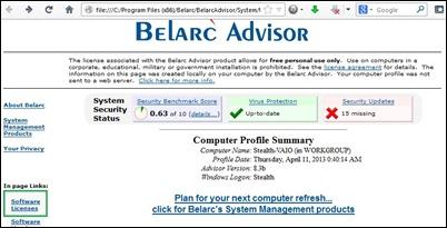 Belarc Advisor-
