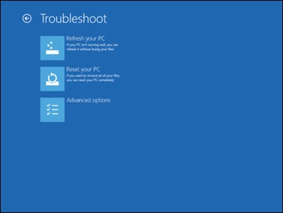 Troubleshoot-menu