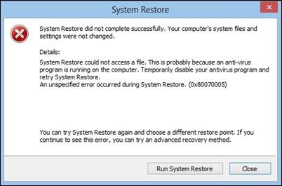 sistem geri yükleme hatası