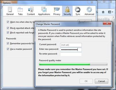 установка майстер-пароля в Firefox