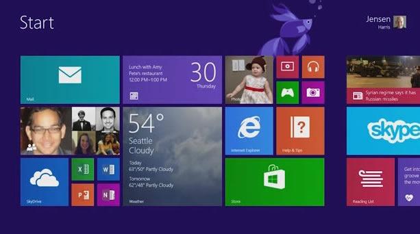 windows8.1 pradžios ekranas
