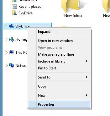 SkyDrive-menu contextuel