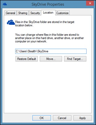 change-skydrive-location