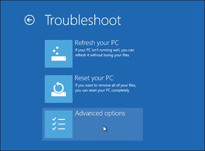 Troubleshoot-menu