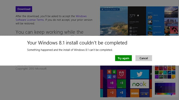 install Windows Error Could not be completed to upgrade to Windows ...