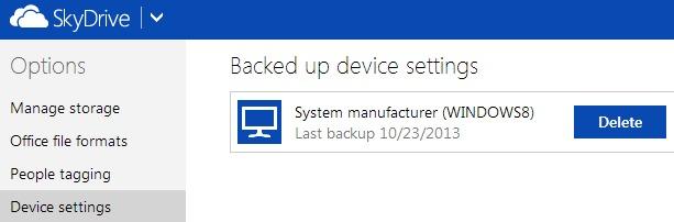 izbriši sigurnosnu kopiju-settings