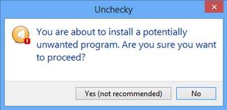 unchecky de alerta