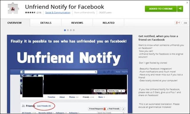 Unfriend-Praneškite skirto Facebook_Chrome