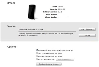 iTunes iPhone atkurti