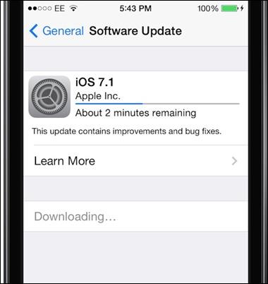 iOS 7.1 frissítés