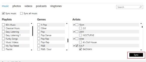 Sync duomenų iš iTunes