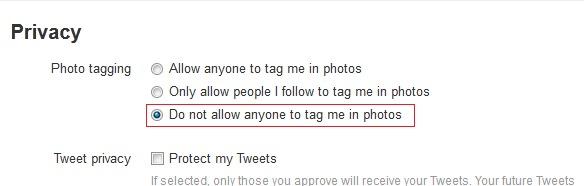 nuotraukų žymėjimą privatumo twitter