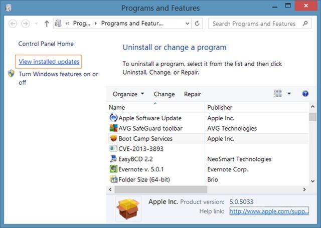 view-installed-updates