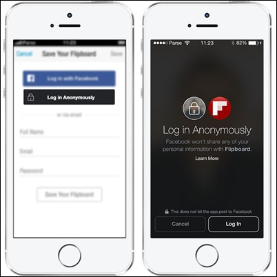 Anonymous-login Facebook